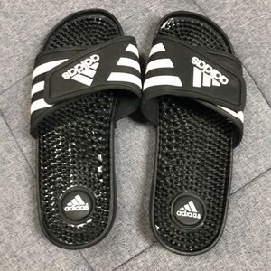 Adidas Black and White Sandals!